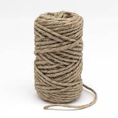 Прядив'яна Мотузка Подвійного кручення 5мм, Колір: Бежевий, Розмір: Товщина 5мм, близько 25м/зв'язка,