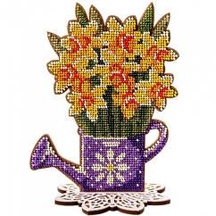 """Набор для Вышивания Бисером по Дереву """"Нарциссы"""", 13х17см, Фанерная Основа с Перфорацией, Бисер 9 Цветов,"""