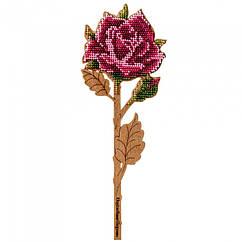 """Набор для Вышивания Бисером по Дереву """"Роза"""", 8.5х22.5см, Фанерная Основа с Перфорацией, Бисер 7 Цветов,"""