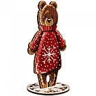 """Набор для Вышивания Бисером по Дереву """"Медведь"""", 10х17см, Фанерная Основа с Перфорацией, Бисер 7 Цветов, нить, фото 3"""