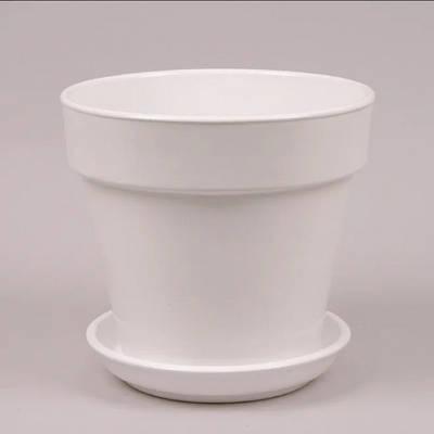 Горшок керамический Наперсток Flora глянец белый 2.8л (KL00085)