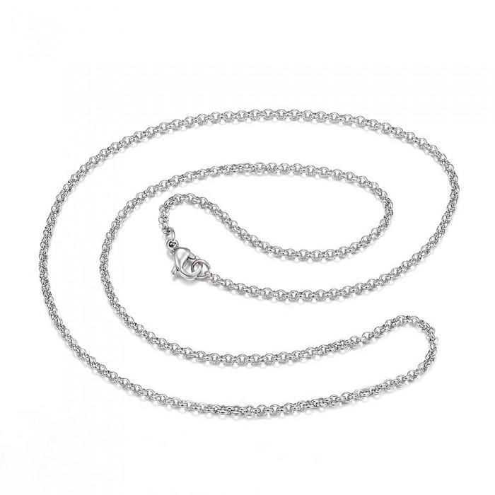 Ожерелье из Нержавеющей Стали, Цепь, Плетение Ролло, Застежка Карабин Лобстер, Размер: 66см, Толщина 0.8мм,