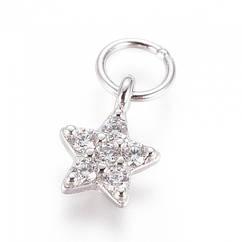 Серебро 925 + Фианиты, Подвеска Звезда, с Колечком, Цвет: Платина, Размер: 7x5x1,5мм, Кольцо 4x0,5мм,