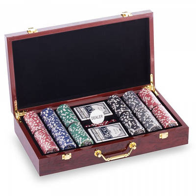 Набор для покера в MDF чемодане LAS VEGAS W300N на 300 фишек с номиналом (KL00167)