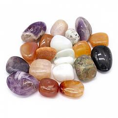Бусины Ассорти Камней, Крошка, Цвет: Микс, Размер: 17-27x13-23x8-20мм, Без Отверстия, Набор 10шт,