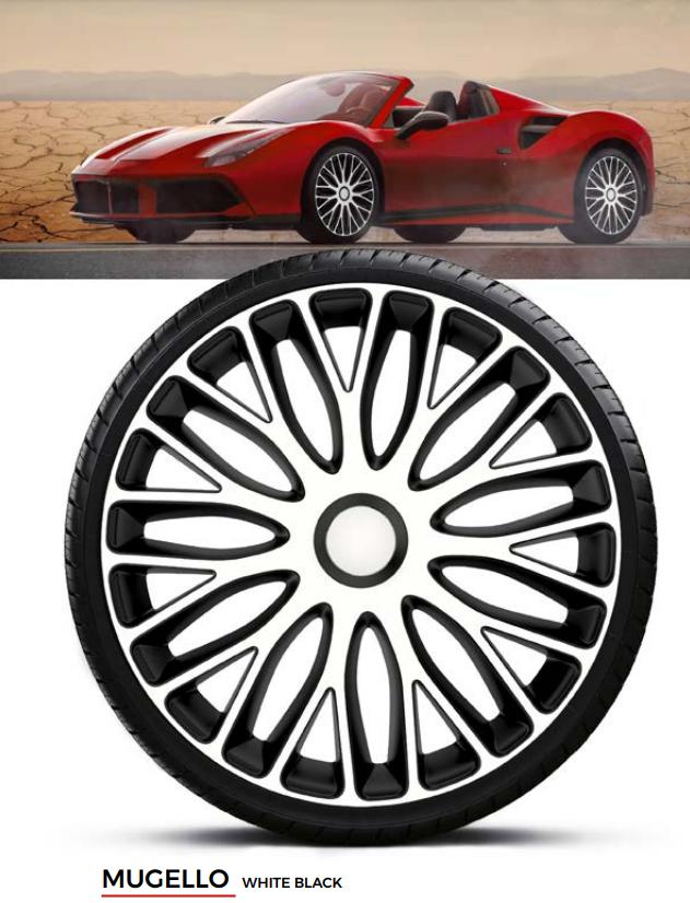 Колпаки колесные Mugello White Black R14