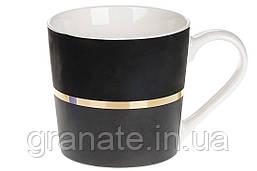 Кружка фарфоровая Золотая Линия, 350мл, цвет - черный графит, 12шт