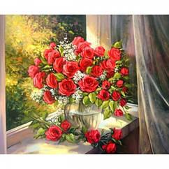 """Картина по номерам """"Букет роз"""", Холст на Деревянном подрамнике, Акриловые Краски, Кисти, Размер: 30х40см, 1 шт"""