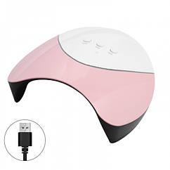 LED UV Лампа для Сушки Гелей и Гель Лака 36W, USB-разъем, Размер: 190х176х80мм, Цвет: Розовый, 1 шт