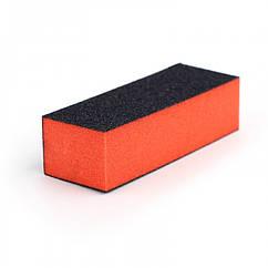 Баф для Ногтей 4-х Сторонний, Размер: 9.5х3.5х2.5мм, Цвет: Оранжевый, 1 шт