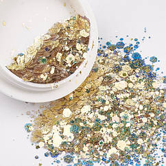 Блестки для Дизайна Ногтей, Размер: Микс, Цвет: Золотой, Размер: Баночка 39х16мм