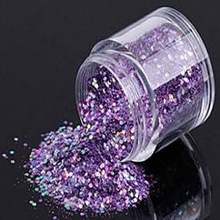 Блестки для Дизайна Ногтей, Размер: Микс, Цвет: Фиолетовый, около 10г/баночка