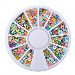 Декор для Дизайна Ногтей в Контейнере, наборРазмер: 5~10мм, Форма: Микс, Цвет: Микс, около 20г/уп,