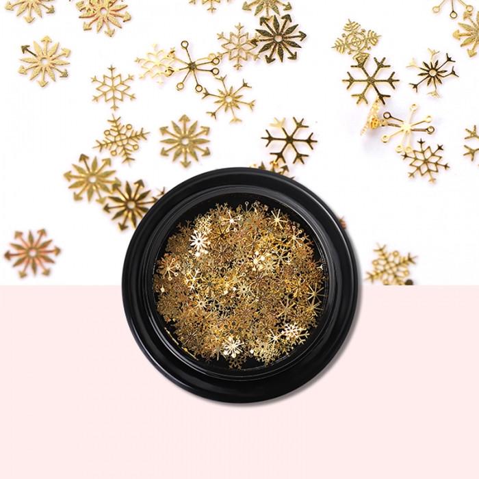 Декор для Ногтей, Снежинки, Размер: 5ммЦвет: Золотой, около 100шт/баночка