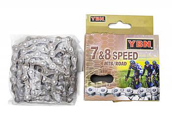 Цепь велосипедная на 8 скоростей под выжимку 116 звеньев YBN S52 brown/brown (CHA-255)