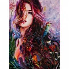 """Картина по номерам """"Девушка"""", Холст на Деревянном подрамнике, Акриловые Краски, Кисти, Размер: 40х50см, 1 шт"""