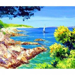 Картина по номерам Берег моря, Холст на Деревянном подрамнике, Акриловые Краски, Кисти, Размер: 30х40см,