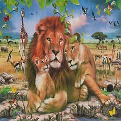 """Картина по номерам """"Львиное семейство"""", Холст на Деревянном подрамнике, Акриловые Краски, Кисти, Размер:"""