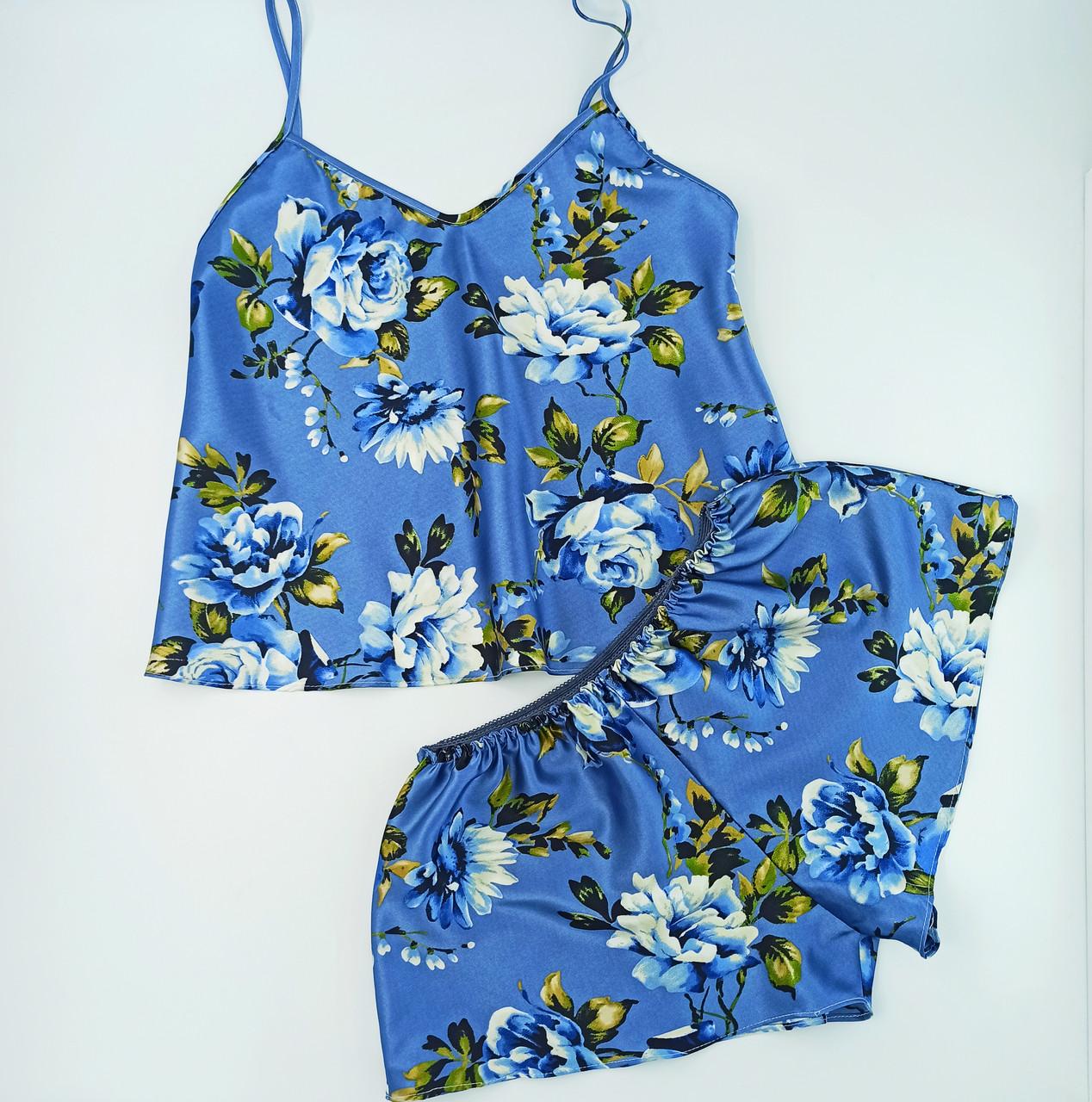 Комплект для дома и сна NoBrand  шортики+майка атлас L (маломерит) в цветы серо-синий (0212)