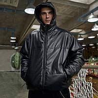 Куртка демисезонная мужская Yard из экокожи черная