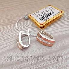 Серьги серебряные с вставками золота и фианитами, фото 3