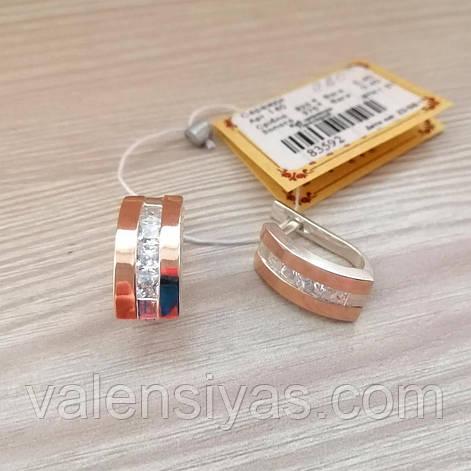 Серьги серебряные с вставками золота и фианитами, фото 2