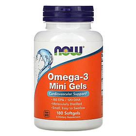 Омега-3, Omega-3 Mini Gels, Now Foods, 180 мягких таблеток КОД: NF1685