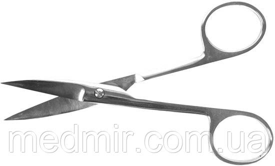 Ножницы с двумя острыми концами, изогнутые 140 мм. Нержавеющая сталь. Длина 140 мм.