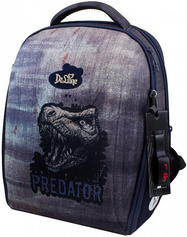 Набір рюкзак шкільний в 1-4 клас ортопедичний для хлопчика пенал і сумка для взуття Динозав DeLune 7-151