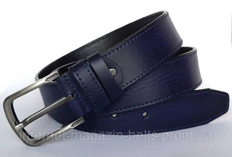 Чоловічий ремінь шкіряний Fs.Style 110-130 см Синій