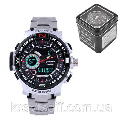 Часы наручные QUAMER 1730, Box, стальной браслет, dual time, waterproof