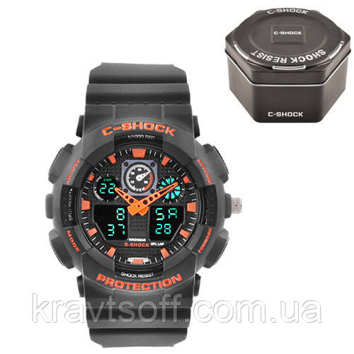 Часы наручные C-SHOCK GA-100 Black-Orange, Box, подсветка 7 цветов