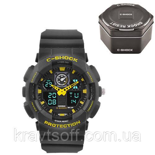 Часы наручные C-SHOCK GA-100 Black-Yellow, Box, подсветка 7 цветов