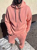 Спортивный костюм теплый на флисе розового цвета oversize унисекс