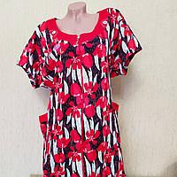 Красное женское летнее платье-халат на молнии. Батал. Турция. Большой размер 11XL (74-76)