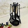 Кухонный набор принадлежностей на стойке из нейлона 7 предметов Edenberg. Набор поварешек на стойке EB-3606 - Фото