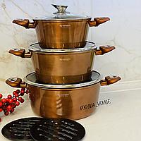Набор кастрюль Edenberg с мраморным покрытием из 8 предметов и толстым дном. Набор кухонной посуды EB-7422