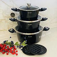 Набор кастрюль Edenberg с мраморным покрытием из 8 предметов и толстым дном. Набор кухонной посуды EB-7423