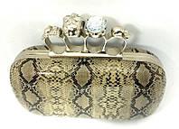 Серый лаковый клатч змеиный, фото 1