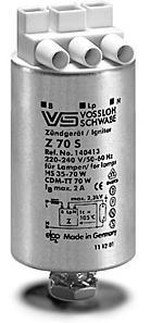 ИЗУ Игнитор Vossloh-Schwabe Z70 S 140413 для ламп ДНАТ и МГЛ до 70Вт (Германия)