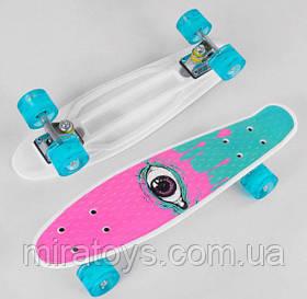 Пенни Борд Скейт для девочки S 29707 со светящимися колесами, доска=55 см, колёса PU, СВЕТЯТСЯ, d=6 см