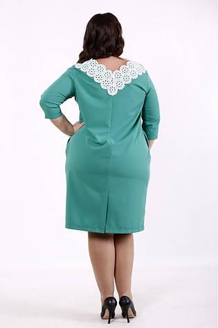 Платье с карманами большого размера зеленое для офиса, фото 2