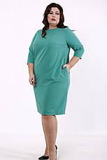 Платье с карманами большого размера зеленое для офиса, фото 3