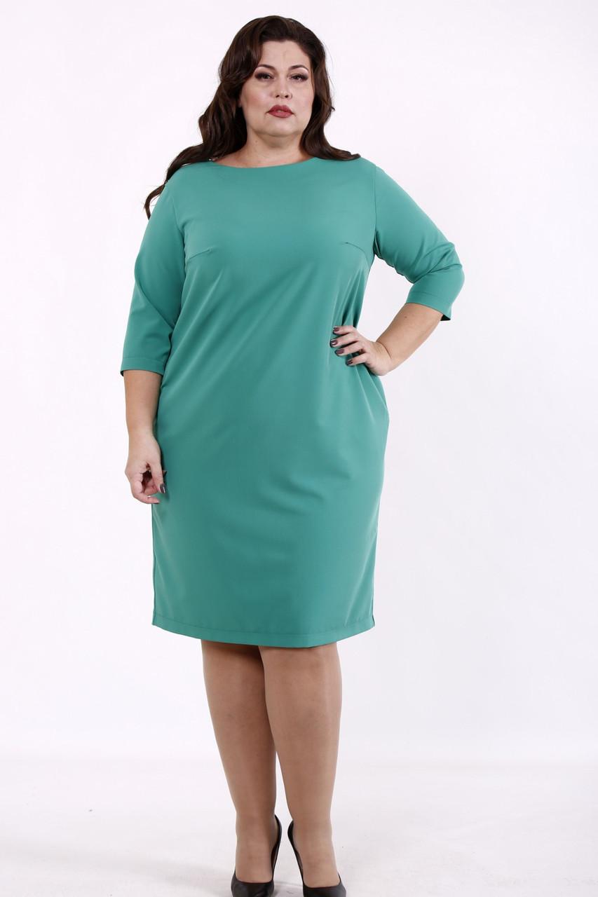 Платье с карманами большого размера зеленое для офиса