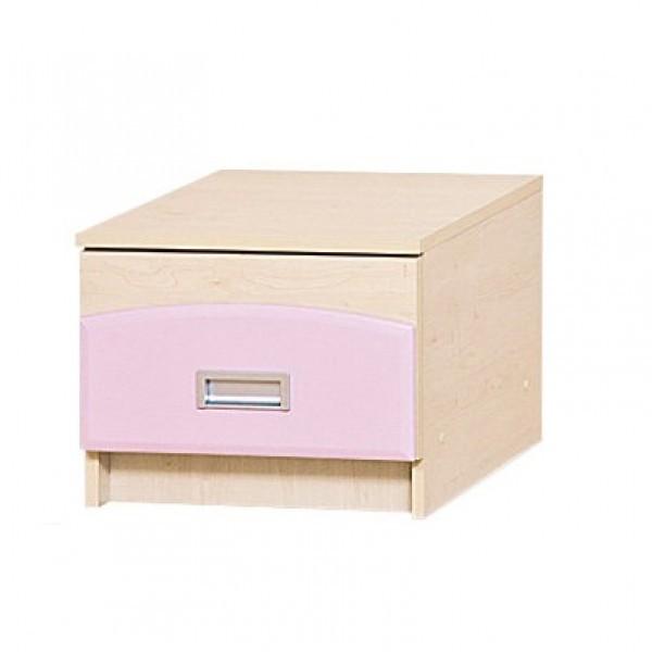 Тумба прикроватная в детскую комнату из ДСП и МДФ Терри Клен/Розовый глянец Світ меблів