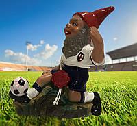 Гном футболист 14 см, не бьющаяся фигурка.