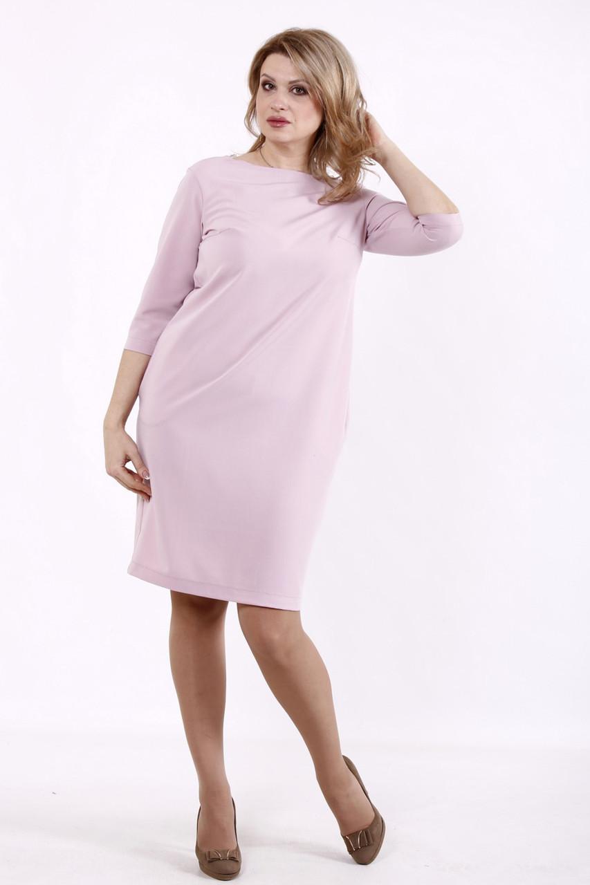 Стильное платье для полных с кружевом розовое