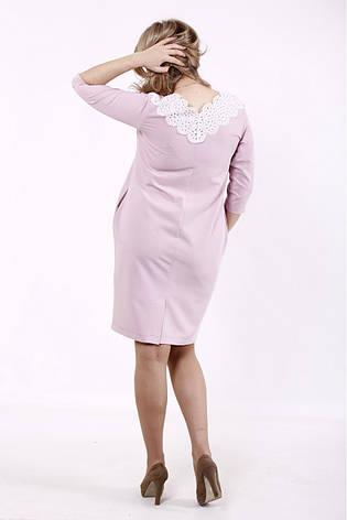 Стильное платье для полных с кружевом розовое, фото 2