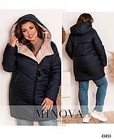 Стильная куртка батал с капюшоном, зимняя куртка с диагональной молнией