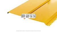 Металлосайдинг Евробрус металлический имитация прямой доски Словак 0.45мм RAL 1021 Рапсово-желтый, желтый